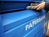 Image of a paper recycling bank