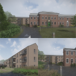 Collage of artist impressions of plans for Neuadd Maldwyn