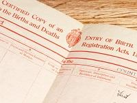 Image of a birth and death certificate