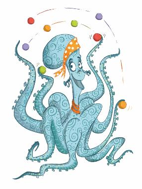 Cartoon image of Izzie the octopus