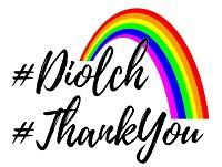 Image of a rainbow with Diolch and Thank You