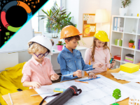 Image of three children looking at building construction plans