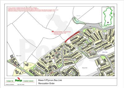 Brecon traffic order plan - bus link marked in red