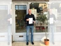 Image of Mr Andrew Finch holding his Silver Kite award