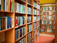Image of bookshelves in a library