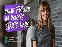 Image of female sixth form student with English Powys Learning Pathways branding