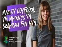Image of female sixth form student with Welsh Powys Learning Pathways branding
