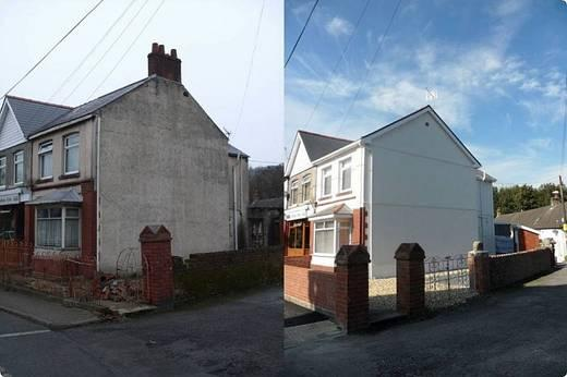 Image of the gable end of a house before and after it has been restored