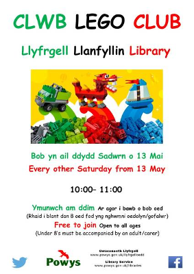 Llanfyllin Library Lego Club Poster