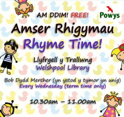 Welshpool Library Rhyme Time Poster