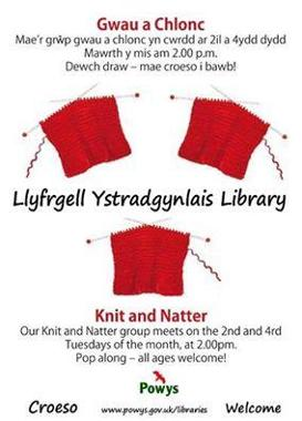 Ystradgynlais Library Knit and Natter Poster