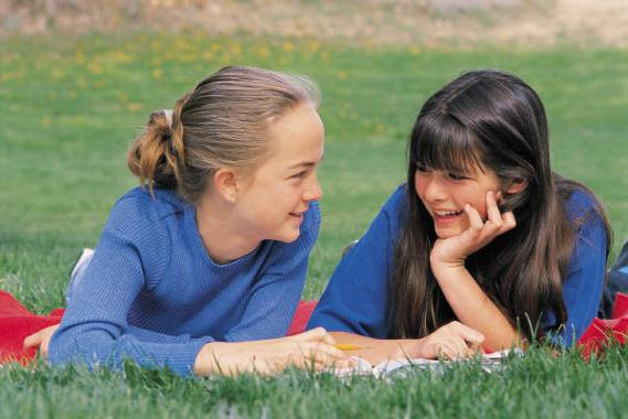 Image of two girls talking