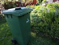 Image of a green garden waste bin