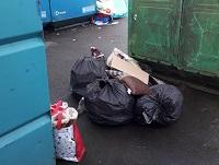 Image of fly-tipping by bottle banks in Talgarth